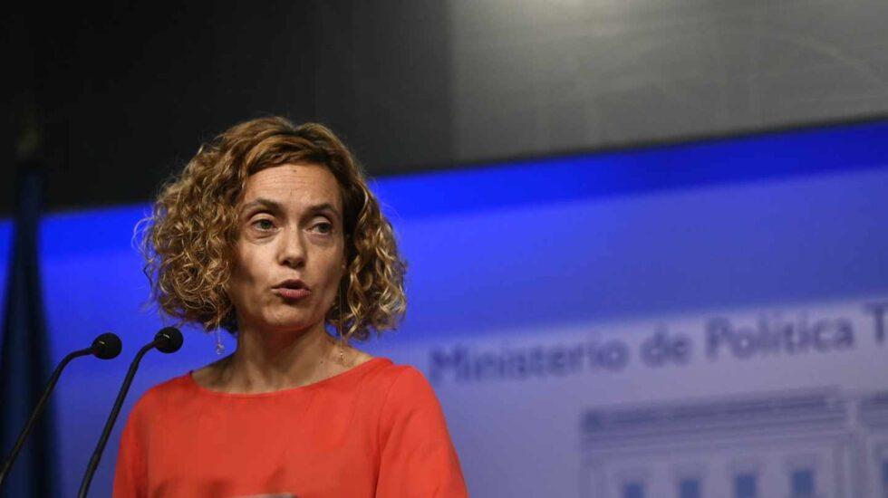 La ministra de Política Territorial y Función Pública, Meritxell Batet, tras la reunión con los sindicatos de la función pública.