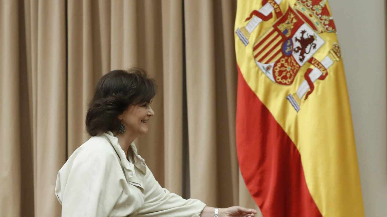 La vicepresidenta del Gobierno, Carmen Calvo, en la comisión de Igualdad.
