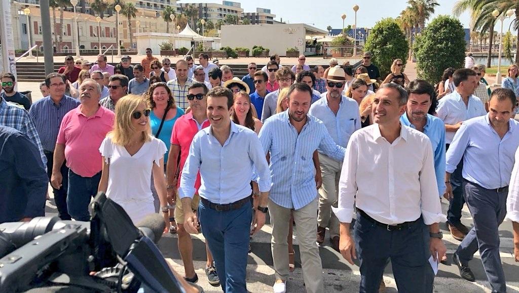 El candidato a la presidencia del PP Pablo Casado durante un acto en Alicante.