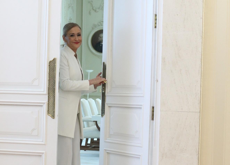Cristina Cifuentes, el día que anunció su dimisión como presidenta de la Comunidad de Madrid.