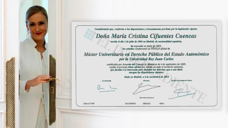 Cristina Cifuentes y el título de máster que la Universidad Rey Juan Carlos expidió a su nombre a finales de 2014.