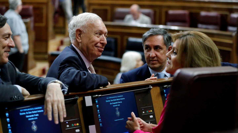 Rafael Hernando, José María García Margallo, José Ramón García Hernández y María Dolores de Cospedal, este miércoles en el Congreso de los Diputados.
