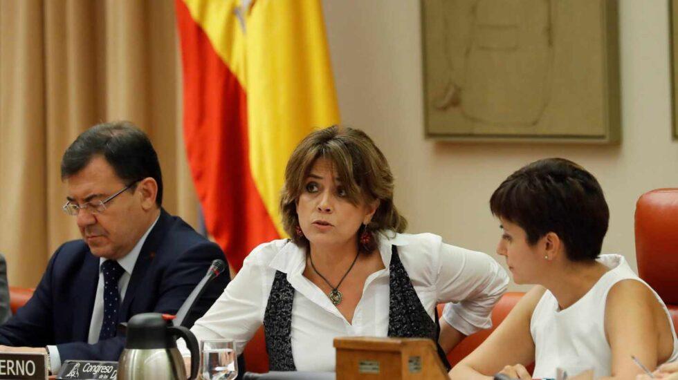 La ministra de Justicia, Dolores Delgado, durante su comparecencia en el Congreso de los Diputados.