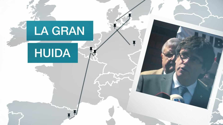 Trayecto de la huida de Puigdemont
