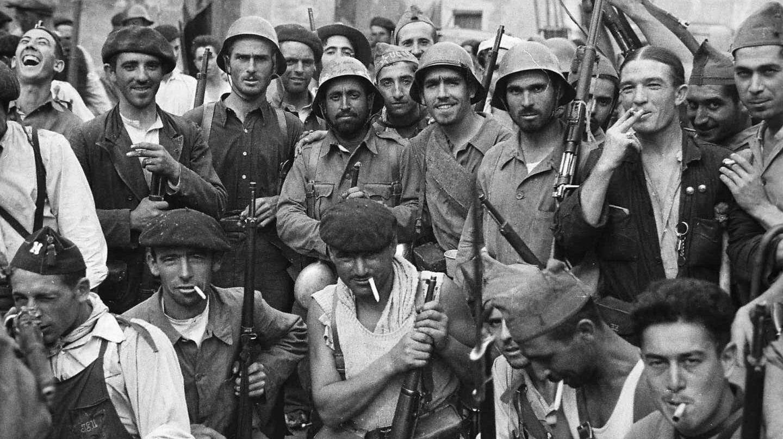 Foto de Alec Wainman de milicias republicanas del frente de Aragón. Grañén, Huesca, el 12 de septiembre de 1936.