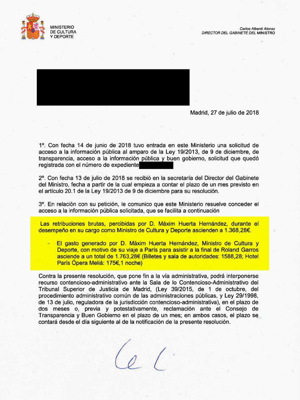 Respuesta oficial en la que se detalla la retribución percibida por Màxim Huerta y el coste de su viaje a París.