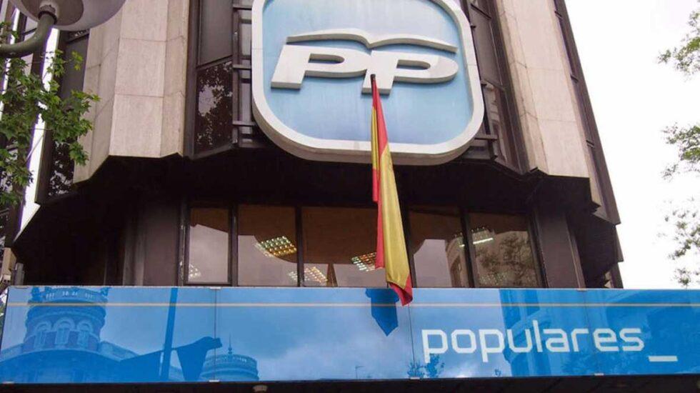 Fachada del cuartel general de los populares en la calle Génova de Madrid