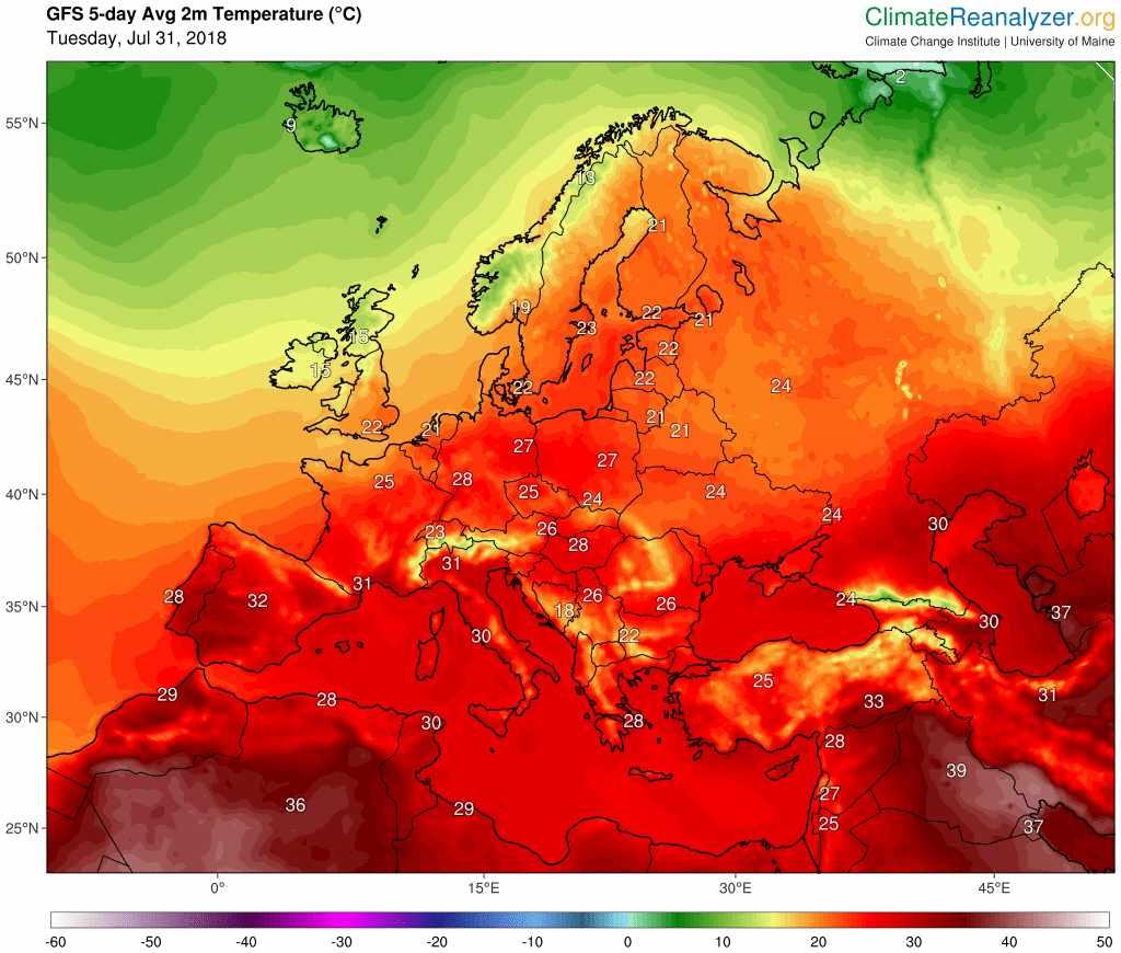 Previsión de temperatura media en Europa en los próximos cinco días