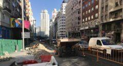 Obras en la Gran Vía de Madrid.