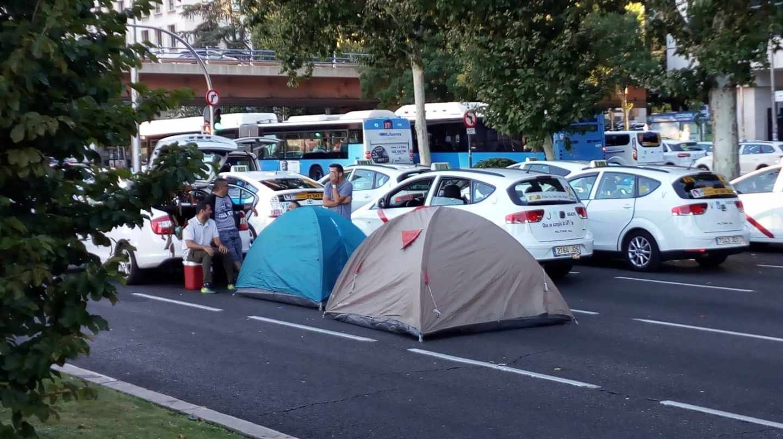 Taxitas en huelga en Madrid.