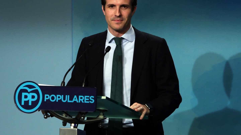 Pablo Casado, durante la rueda de prensa tras anunciarse el resultado de las primarias del PP.