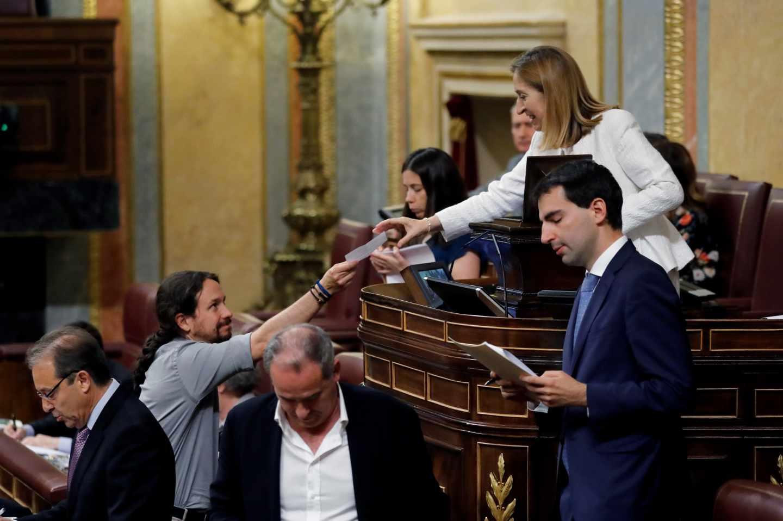 Pablo Iglesias, durante la votación en el Congreso sobre RTVE.