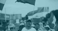 Manifestantes participan en un plantón para conmemorar los 100 días desde el inicio de la crisis sociopolítica que atraviesa Nicaragua.