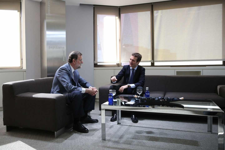 Mariano Rajoy y Pablo Casado, en su primera reunión tras el congreso del PP.