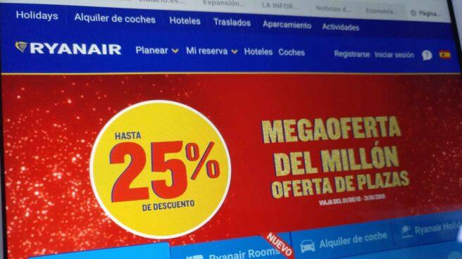 Promoción comercial de Ryanair en su web.