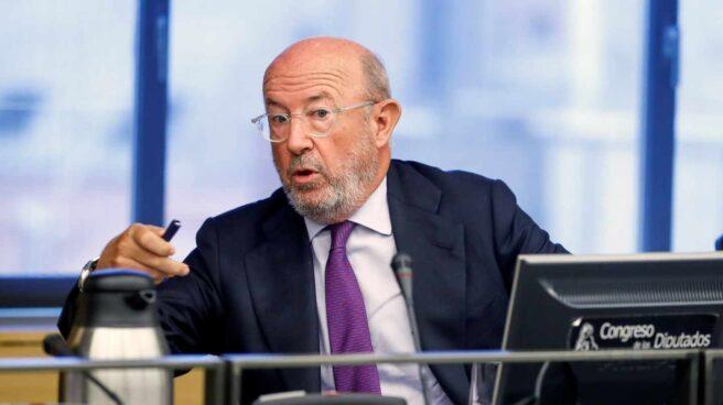 El expresidente del Banco Popular Emilio Saracho durante su comparecencia ante la Comisión del Congreso que investiga la crisis financiera y el rescate bancario