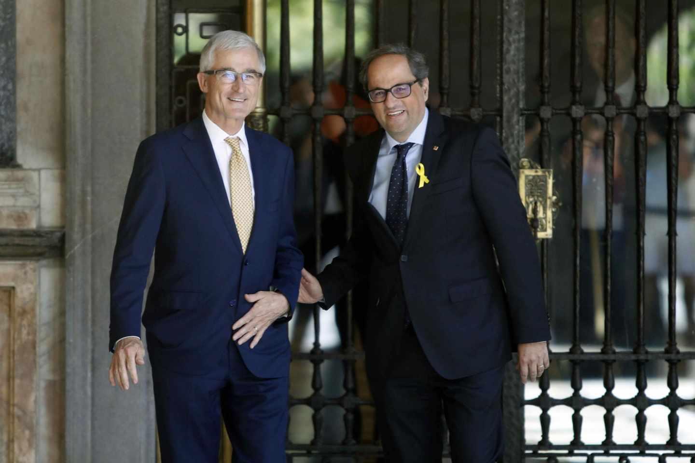 El presidente de Cataluña, Quim Torra (d) y el presidente de Flandes, Geert Bourgeois.