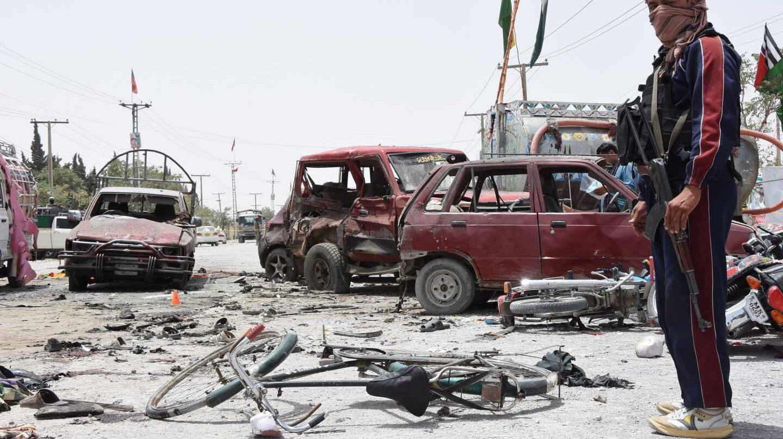 Escenario de un atentado terrorista en Quetta, Pakistán, en la jornada electoral.