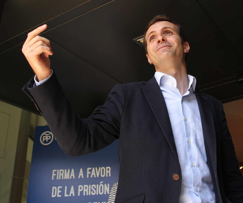 Pablo Casado, en un acto de la campaña de las primarias del PP.