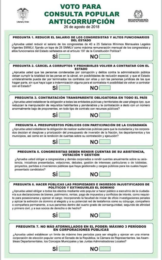 Voto para la Consulta Popular Anticorrupción