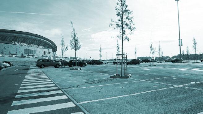 Vista del Wanda Metropolitano desde el aparcamiento del estado.