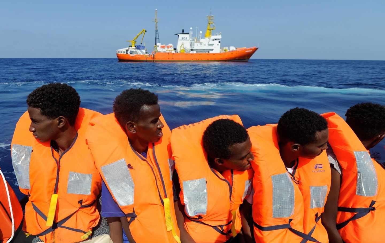 Inmigrantes esperando a ser rescatados, el pasado 10 de agosto.