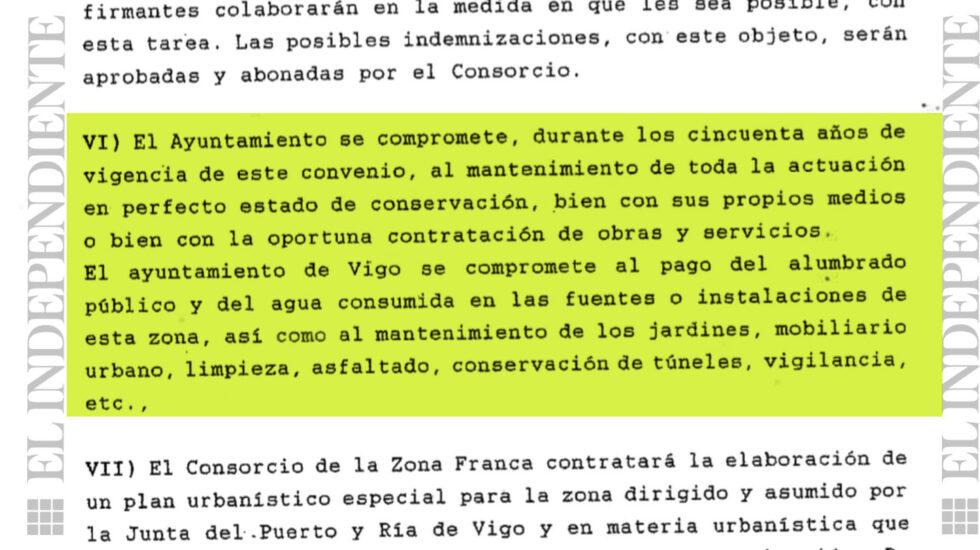 Captura del convenio que indica que el mantenimiento de la zona siniestrada corresponde al ayuntamiento.