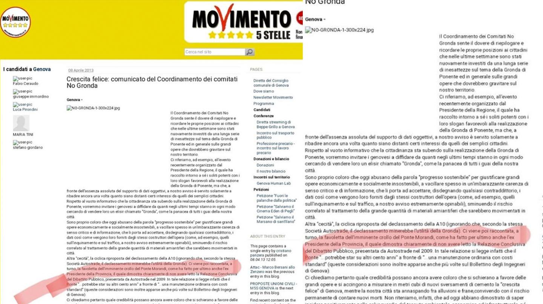 El documento del Movimiento 5 Estrellas en contra de un nuevo puente en Génova