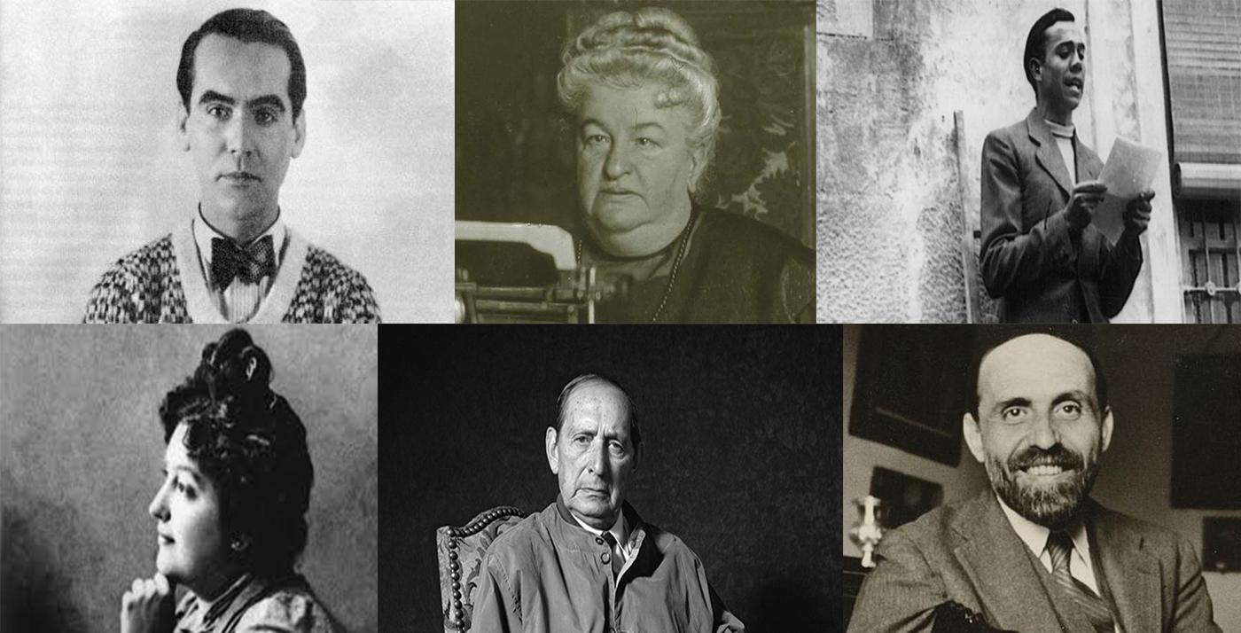 Federico García Lorca, Emilia Pardo Bazán, Miguel Hernández, Carmen de Burgos, Miguel Delibes y Juan Ramón Jiménez.