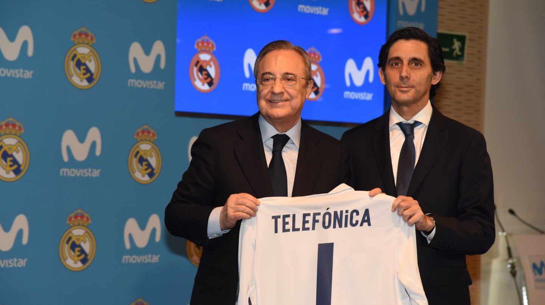 El presidente del Real Madrid, Florentino Pérez, y el de Telefónica, José María Álvarez-Pallete, en la presentación del acuerdo de patrocinio.