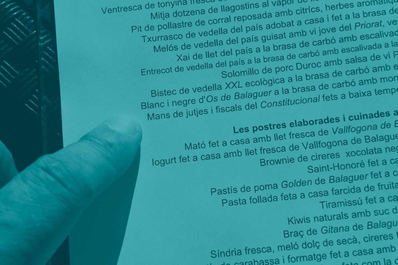 Vista de la carta del restaurante Nova Font Blanca.
