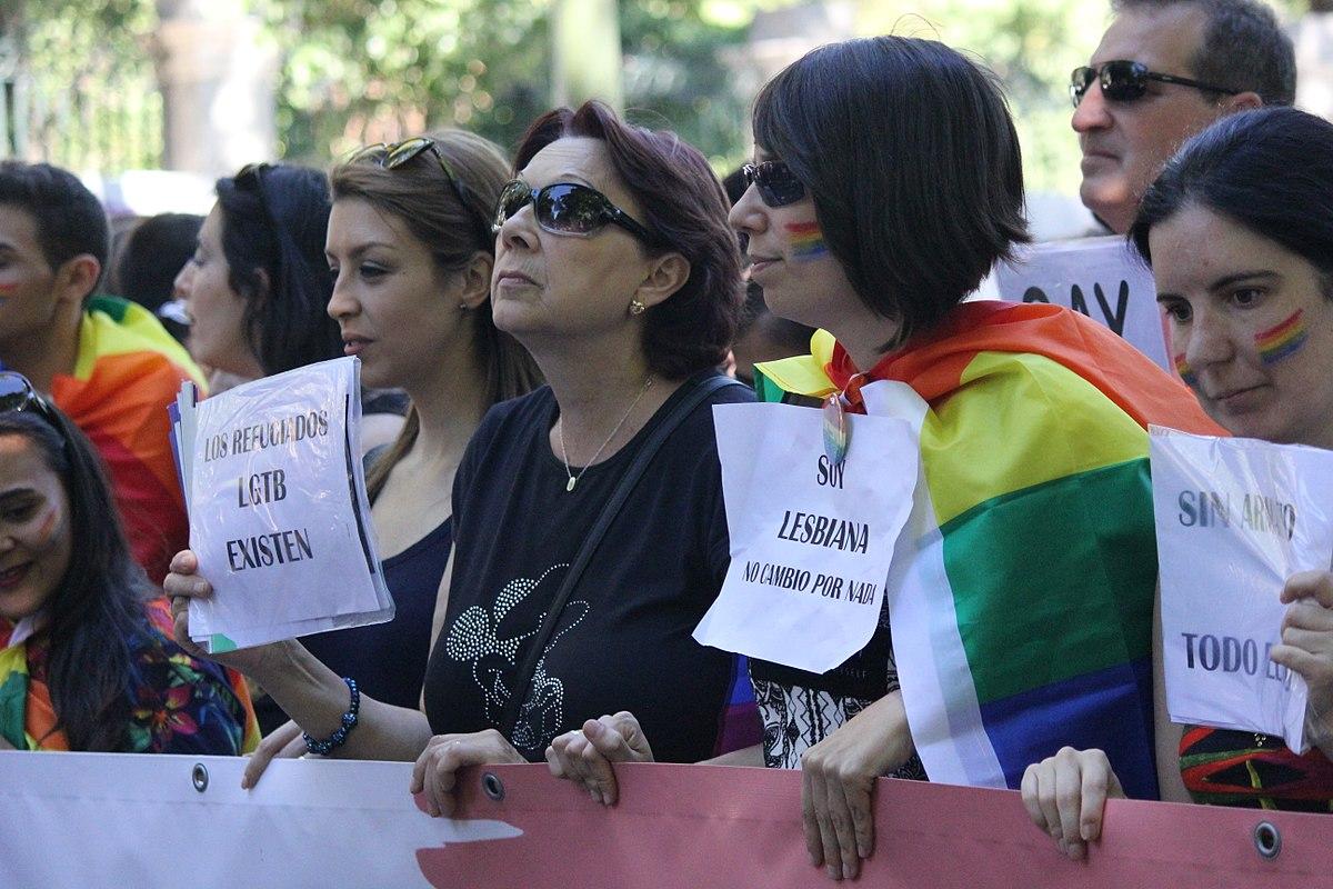 Mujeres lesbianas en una manifestación.