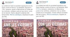 Sánchez elimina la bandera y el escudo de España en su mensaje de unidad en catalán