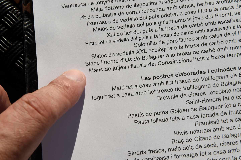 La polémica carta del restaurante.