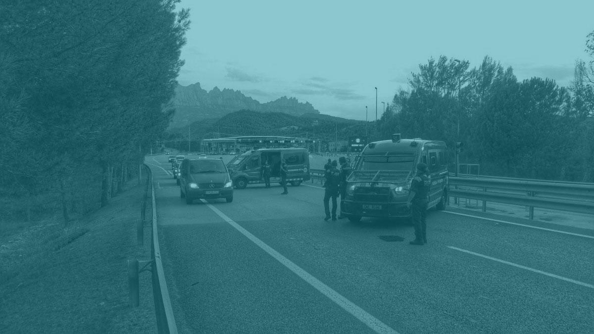 Cordón policial entre Barcelona y Cambrils.