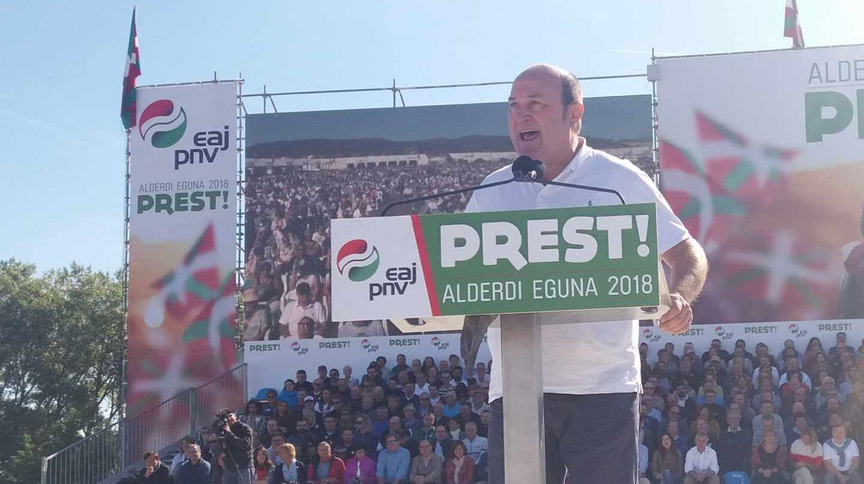 El presidente del PNV, Andoni Ortuzar durante su intervención en el 'Alderdi Eguna'.