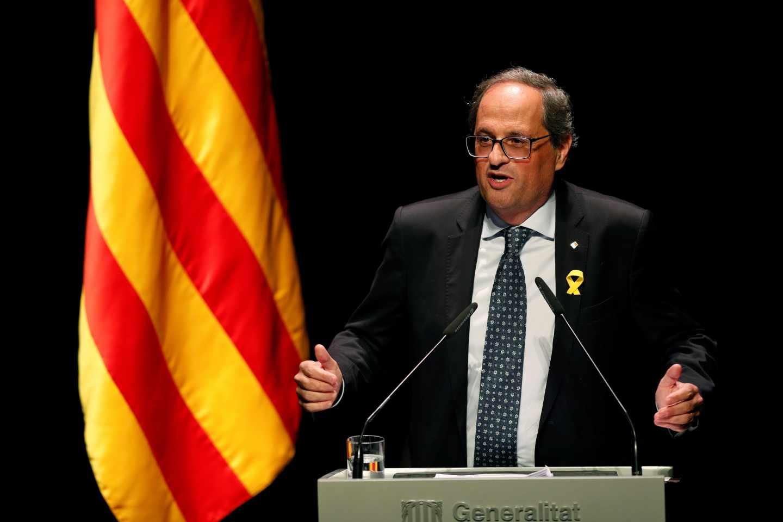 El presidente de la Generalitat, Quim Torra, en su conferencia en Barcelona.
