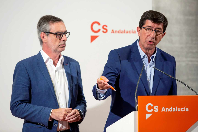 El secretario general de Ciudadanos, José Manuel Villegas, y el presidente andaluz del partido, Juan Marín.