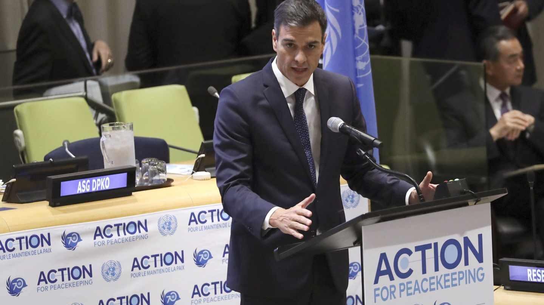 El presidente del Gobierno, Pedro Sánchez, en Nueva York.