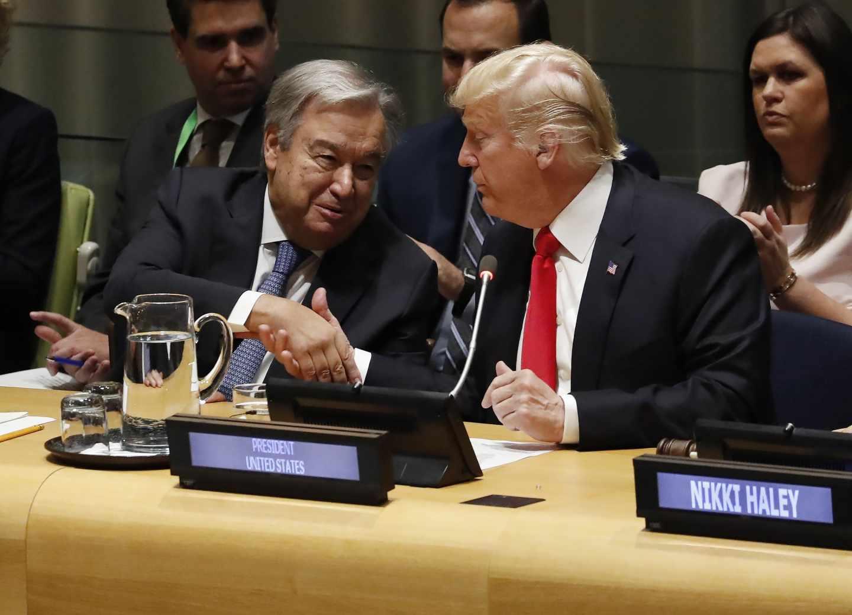 Antonio Guterres, secretario general de la ONU, y Donald Trump, presidente de EEUU, en la ONU.