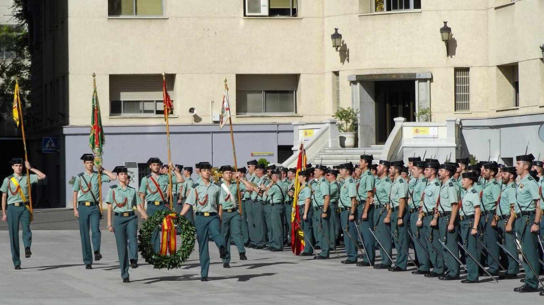 Guardias civiles, en formación en un acto oficial en la sede central del Cuerpo en Madrid.