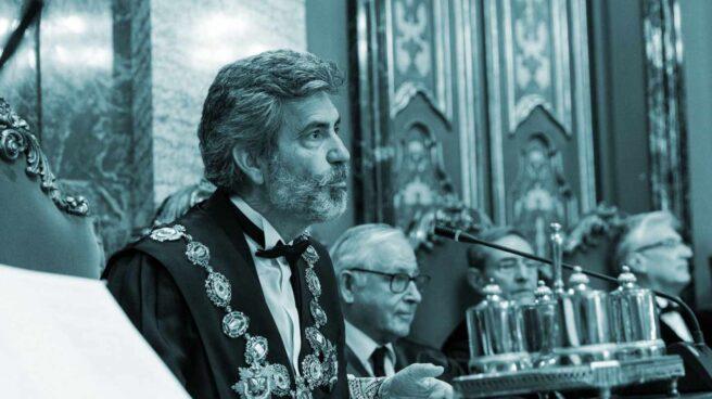 El presidente del Tribunal Supremo y del Consejo General del Poder Judicial, Carlos Lesmes, durante una intervención en una acto de toma de posesión.