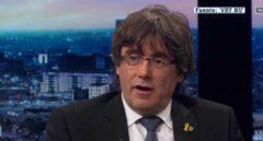 Carles Puigdemont durante una entrevista en la televisión belga.