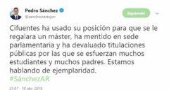 """Sánchez criticó que Cifuentes usara """"su posición para que se le regalara un máster"""""""