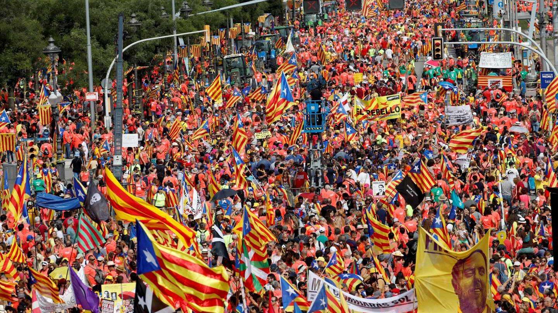 Diagonal de Barcelona, durante la Diada 2018.
