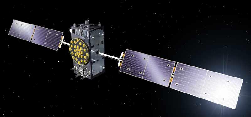 Rénder de un satélite de Galileo