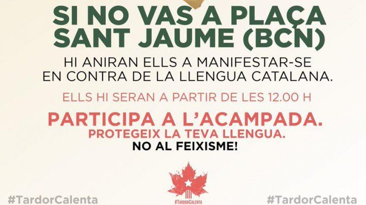 Cartel con el que el independentismo llama a concentrarse en la plaza Sant Jaume.