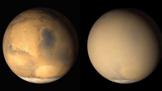 Marte, antes y durante la tormenta de polvo de 2018