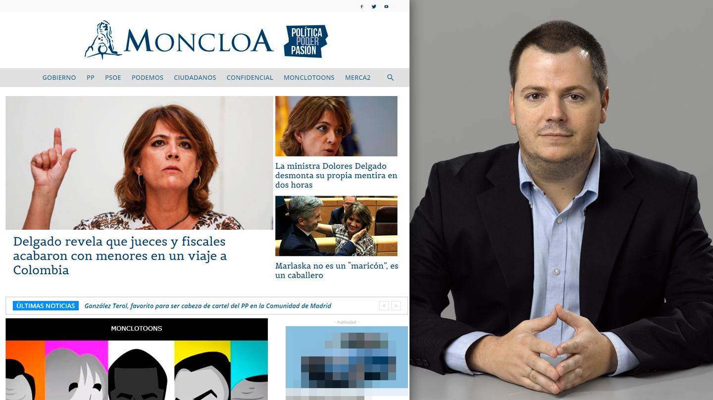 Cabecera del portal 'Moncloa.com' y, a la derecha, su editor: Alejandro Suárez Sánchez-Ocaña.