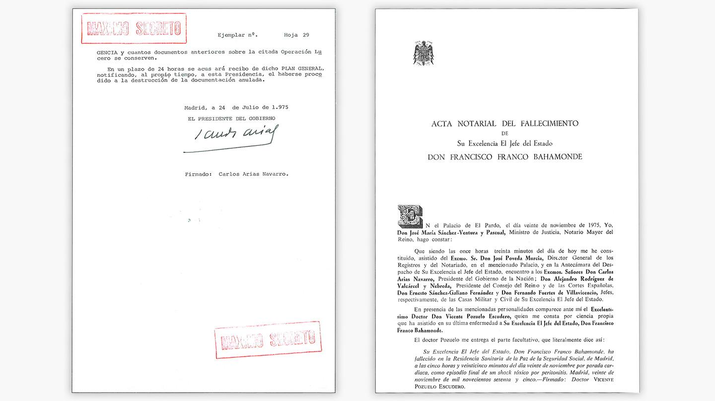 Acta notarial del traslado e inhumación del cadáver de Franco.